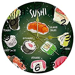 Luoweisi Japan Sushi Green Wall Clock Home Decor Acrylic Round Clock Non Ticking Silent Clock for Bedroom, Kitchen, Dining Room, Office&Living Room