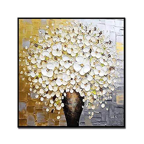 ZNYB Cuadros Pintados A Mano Flores Rojas y Blancas 100% Pintado a Mano Cuadros Modernos Abstractos Pintura al óleo sobre Lienzo Arte de Pared Pintura de Pared para Sala en Vivo