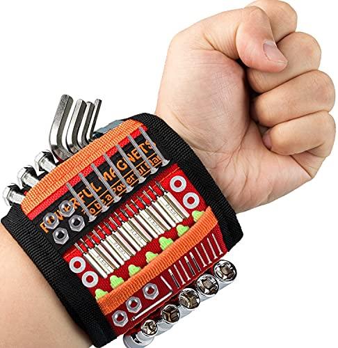 Pulsera magnética ajustable con 15 imanes superpotentes y 2 bolsillos profundos con imanes para tornillos, clavos, pernos y pequeñas piezas metálicas, regalo para padre, regalo (rojo)