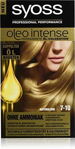 Syoss Oleo Intense Haarfarbe, 7-10 Naturblond, 3er Pack (3 x 115 ml)