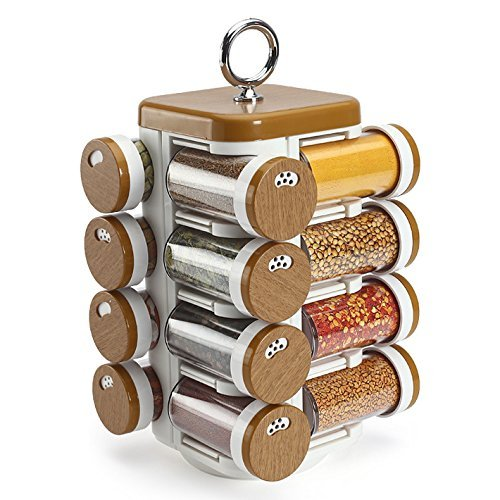 JVS™ Plastic Spice Jar, 6.5 X 6.5 X 11.5 Inches, 16 Pieces, Wood Finish