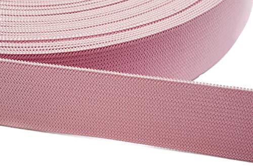 Jajasio 12 Meter Gummiband zum Nähen in 20 Farben elastische Band für Kleid Rock Hosen 08 - rosa 20mm