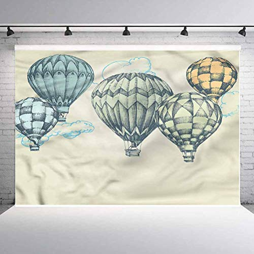 5x5FT Vinyl Photography Backdrop,Vintage,Air Balloons in Sky Photo Background for Photo Booth Studio Props
