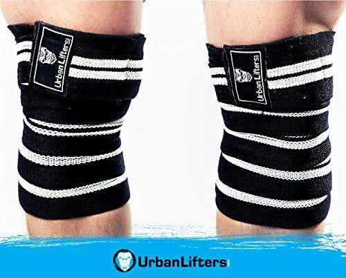 Urban Lifters Kniewickel fürs Gewichtheben. Elastische Schwerlast-Kniebandagen für Kniebeugen, Kraftdreikampf, Knee Wraps, Gewichtheben und Crossfit (Schwarz/Weiß)