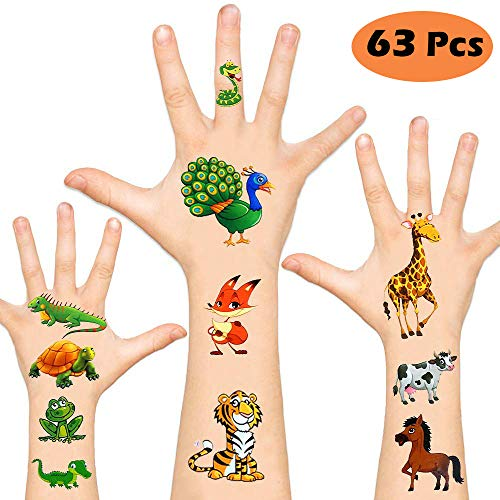 KIMIOX Temporary Tattoos for Kids , Non-Toxic Cartoon Theme Fake Tattoos Stickers for Children Boys Girls Halloween Birthday Party Favors Supplies (Animal)