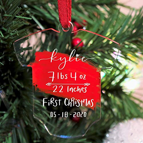 UNIQOOO 3.75'' Clear Acrylic Baby's First Christmas Onesie Ornament, Newborn Birth Announcement Keepsake, Blank Christmas Bauble Tree Decoration, Stocking Name Tag, Gift Tags, 4mm Extra Thick, Pack 20