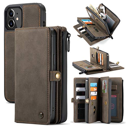 "Mdkrz Wallet Phone Case Compatible with 5.4"" iPhone 12 Mini, PU Leather Zipper Purse Folio Flip Wallet Case Cover [17 Credit Card Holder] Detachable Magnetic Back Case for iPhone 12 Mini - Coffee"