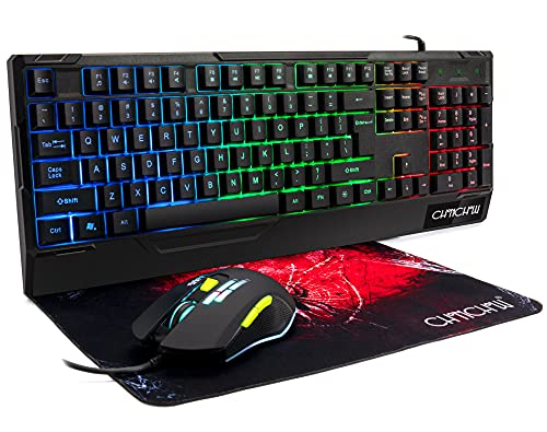 RGB Gaming Keyboard and Mouse Combo,CHONCHOW Wired LED Backlit Gaming Mouse and Keyboard(with Wrist Rest) Keyboard Mouse Mouse Pad Set for Laptop PC Computer PS4