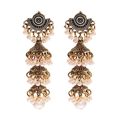 SOFEA Pendientes colgantes, India étnico pendientes de las mujeres vintage plata oro largo borla colgante bollywood pendientes bohemia gitana joyería