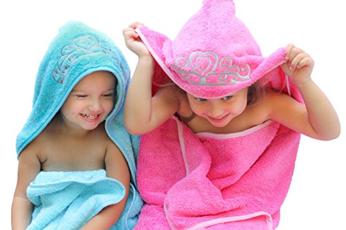 "Ultra-Homes Princess Hooded Kid Towel (Ice Blue), 27.5"" x 49"", Plush and Absorbent Luxury Bath Towel! 600 GSM, 100% Cotton"