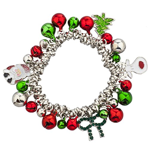 Lux Accessories Silver Tone Christmas X-Mas Holiday Jingle Bells Charm Bracelet