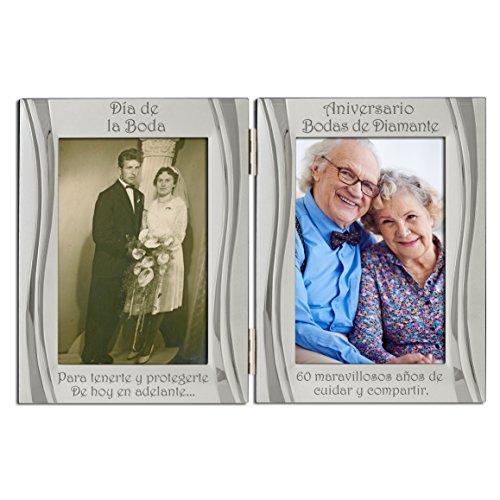 Bodas de diamantes del 60 aniversario, marco de fotos con doble marco, plata mate y brillante, sostiene 2 fotos. Una para la boda y otra para el aniversario. Regalo Presente del 60 aniversario