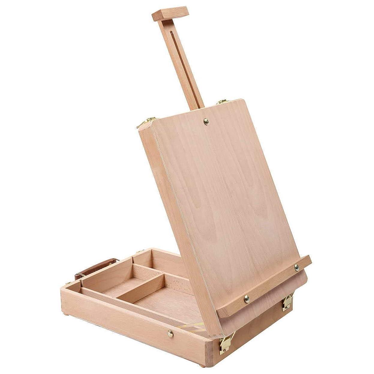 暴力的な年次飛行機Costway イーゼル 卓上イーゼル 木製 スケッチイーゼル 写生用イーゼル 画板立て 折りたたみ式 高さ調整可能 画材 絵画ボックス (イーゼル564)