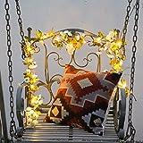 Guirnalda de flores rosa artificial con 20 luces LED de hada para interior y exterior, guirnalda para boda, cumpleaños, jardín o fiesta (beige (69 flores), 6.56FT/20LED)