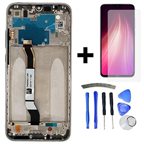 Hypak Pantalla Completa para Xiaomi Redmi Note 8 (con Marco) Repuesto LCD Tactil Digitalizador (Plata)