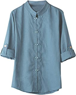 Summer Cotton Shirts for Men Tronet Classic Chinese Style Kung Fu Shirt Tops Tang Suit 3/4 Sleeve Linen Blouse