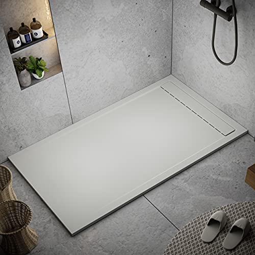 Shower Tray 700 x 1700 Stone Resin Thames - Anti Slip and Low Profile - Matte Finish and Smooth Texture - All Sizes Available - Shower Waste and Painted Grid Included - Light Grey RAL 7035