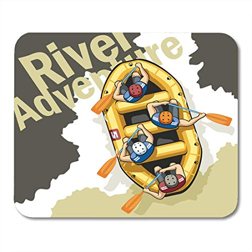 Mauspads Rough Mountain River in Gelb Aufblasbares Boot Rafting Sitzen Vier Männer Helme und Schwimmwesten Menschen Mauspad Für Notebooks, Desktop-Computer Mausmatten, Büromaterial