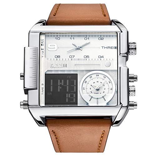 Sailine Multifunktions-Herrenuhr Soprt Dreifach-Uhrwerk, 3 Zeitzonen, Echtleder, 30 m wasserdicht (Brown-White)