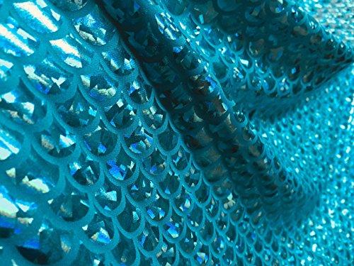 Tissu imprimé écailles de sirène en aluminium extensible dans les 2 sens Lycra Spandex – 150 cm de large – Bleu aqua (vendu au mètre)