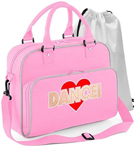 MusicaliTee Pole Fitness Dancing - Love Dance - Rosa PINK - Tanztasche & Schuh Tasche Dance Shoe Bags