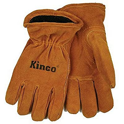 KINCO 50RL-Y Suede Cowhide Gloves, Foam/Jersey Lining, Keystone Thumb (Ages 7-12), Youth, Golden