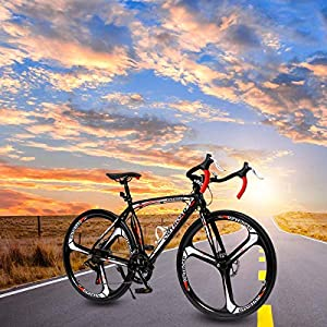 PanAme 26 Inches Road Bike Dual Disc Brake 700c High-Performence Wheels Commuter Bicycle, 14-Speed Drivetrain, Light Aluminum Frame, Black