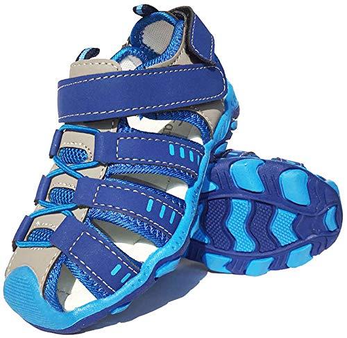 Vorgelen Kinder Geschlossene Sandalen Jungen Mädchen Sommer Leder Sandalen Trekking Wandern Sommer Outdoor Schuhe Weiche Sohle Sandaletten Lauflernschuhe Schuhe 01 Blau / 24 EU