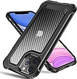 Tuerdan iPhone 11 Pro Max Case, [Military Grade Shockproof] [Hard Carbon Fiber Back] [Soft TPU Bumper Frame] Anti-Scratch, Fingerprint Resistant, Protective Phone Case for iPhone 11 Pro Max, Black