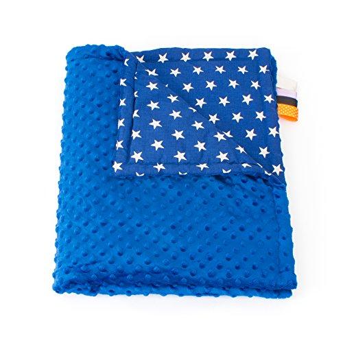 1buy3 Minky - Manta para bebé (75 x 100 cm), diseño de Estrellas, Color Azul