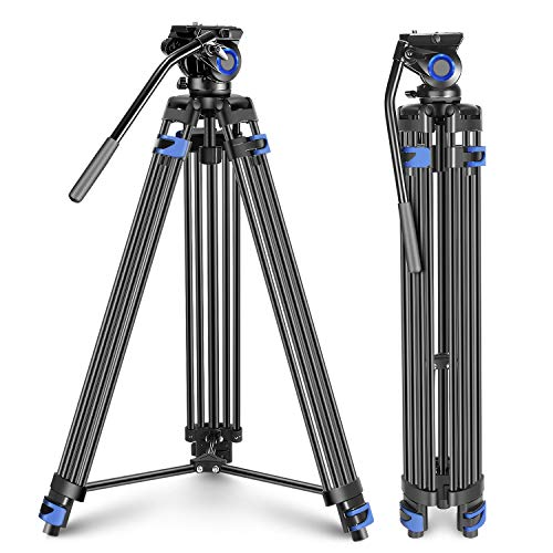 Neewer プロで頑丈なビデオ三脚 193cm アルミニウム合金 フルイドドラッグヘッド 左 右バーハンドルサポート ミッドレベルスプレッダー DSLRカメラビデオカメラ用 最大負荷重15kg