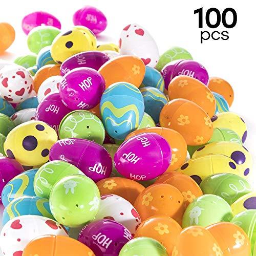 Prextex 100 befüllbare Ostereier in bunten Farben für die Ostereiersuche, Befüllbare Eier für Ostern