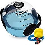 POWRX Balón medicinal agua 15 kg - Waterball para ejercicios de Functional Fitness y Biofeedback Training - Pelota con indicador de peso y asas laterales - Incluye hinchador