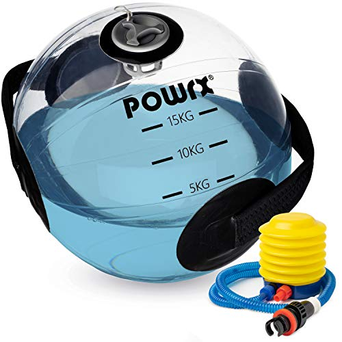 POWRX Palla Medica Acqua 15 kg - Waterball per Esercizi di Functional Fitness e Biofeedback-Training - Ball con indicatore del Peso e Dotata di morbide Prese - Pompa per gonfiaggio Inclusa