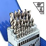 COMOWARE Set di punte da trapano in legno Jobber - 25 pezzi Codolo cilindrico HSS M2 per a...