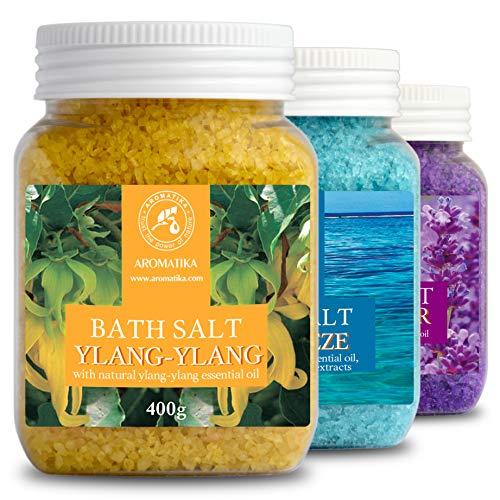 Set Sales de Baño 3x400g con Aceite 100% Natural Lavender - Ylang-Ylang - Sea Breeze - Mejor para Buen Sueño - Alivio del Estrés - Baño - Cuidado Corporal - Bienestar - Belleza - Relajación - Spa