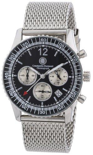 Constantin Durmont Herren-Armbanduhr XL Air Commander Chronograph Quarz Edelstahl CD-AIRC-QZ2-STM2-STST-BK
