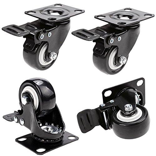 Herenear 4 Stück 50mm Lenkrollen Schwenkrollen mit Bremse Tragkraft von 400kg aus Gummi (Type 1)