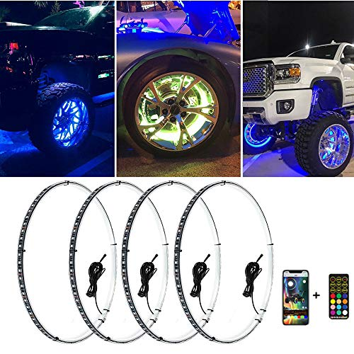 Beatto 15.5inch RGB LED Wheel Ring Light Kit w/Turn Signal and Braking Functionand Can Controlled by...