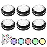 Elfeland Puck Lights Battery Operated Under Cabinet Lighting, LED 16 Color Changing Puck Lights with Remote Control & Timing, Dimmable LED Closet Lights for Kitchen Cabinet and Closet (6 Packs)