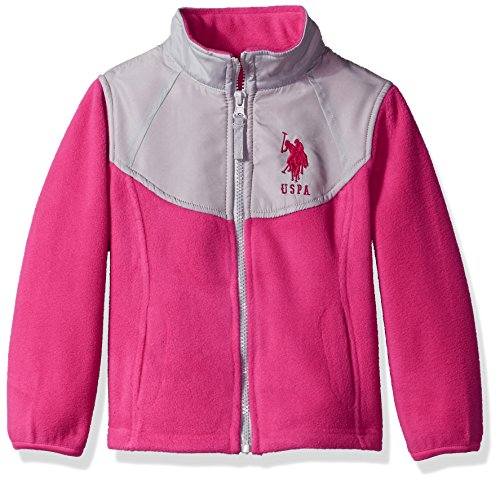 US Polo Association Baby Big Girls' Fashion Outerwear Jacket (More Styles Available), Space Dye-UA78-Fuchsia, 14/16