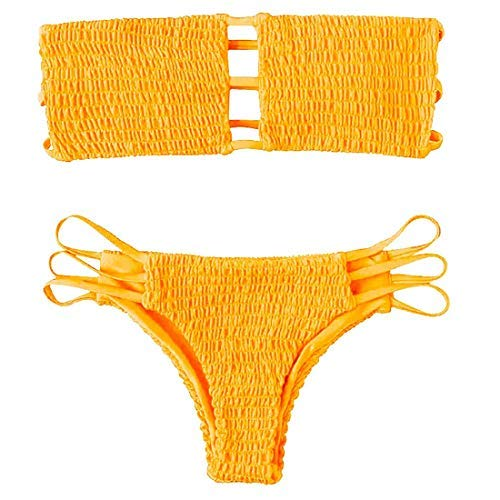 Yuson Girl Mujeres Conjunto De Plunge Bikini Sexy Bandeau Plisado con Triangulo Tanga Cuello Halter Bikini Traje De Baño Sin Tirantes Bañador De Playa 2 Piece Strapless Cintura Alta Bikini Brasileño