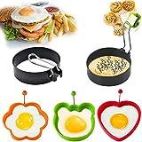 5 piezas de formas de huevo frito,anillo de huevo, anillo de huevo de acero inoxidable,anillos de huevo de silicona antiadherente,anillo de huevo de acero inoxidable Siliko,molde de panqueque molde