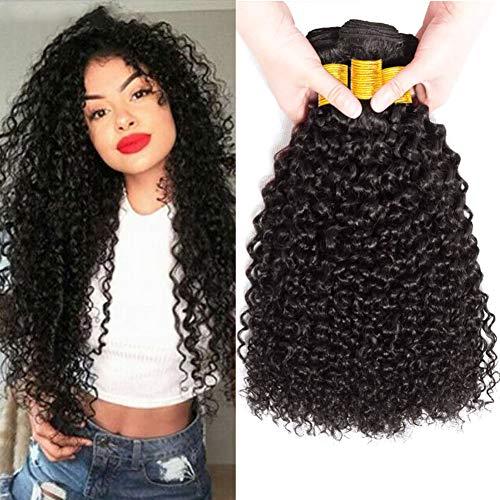 Musi 8A Brazilian Hair Kinky Curly hair 100% Human Hair Bundles brasilianische Haare brasilianische menschliche Hair Echthaar Weave Curly Virgin Hair Natürliche 300g (20 22 24 Zoll 1b)
