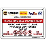 Package Delivery Sign Amazon, USPS, FedEx and UPS Deliveries Sign, 7' x 10' Industrial Grade Aluminum, Easy Mounting, Rust-Free/Fade Resistance, Indoor/Outdoor, USA Made by MY SIGN CENTER