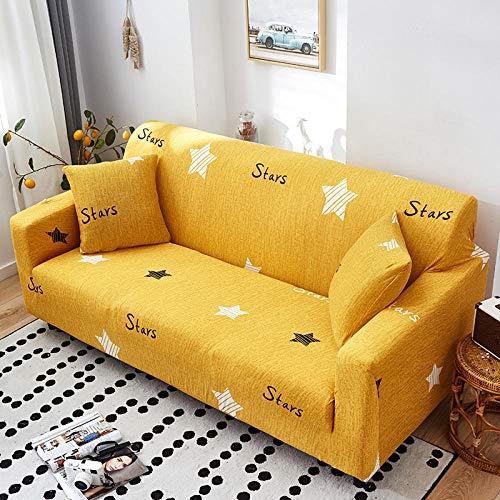 JNBGYAPS Universal Funda para sofá Elástica Impresión Funda para Sofa en Forma L Elástica Protector Cubierta de Muebles Funda para Chaise Longue (3 plazas, Amarillo)
