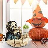 Hearthxy Aschenbecher für draussen Auto Skelett Totenkopf Halloween dekoTischaschenbecher Tischdeko Horror Gruselig Schädeldekoration für drinnen und draußen, Heimdekoration, Raucherbehälter - 5