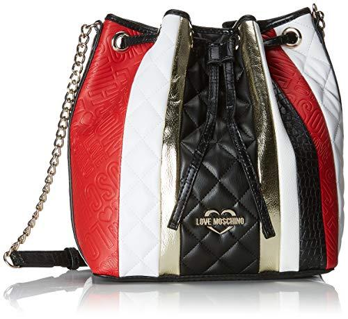 Love Moschino Borsa Mat.mix Pu, Sacs portés épaule femme, Multicolore (Nero/Bian/Ross/Oro), 13x27x28 cm (B x H T)