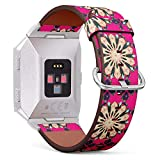 Compatible with Fitbit Ionic - Replacement Leather Wristband Watch Band Strap Bracelet for Men and Women - Baby Shower Menu Flyer Banner