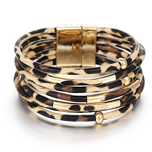 Leopard-Lederarmbänder für Art- und Weisefrauen-Armband-eleganten mehrschichtigen Verpackungs-breiten Armband-Schmuck